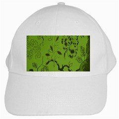 Abstract Green Background Natural Motive White Cap