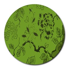 Abstract Green Background Natural Motive Round Mousepads