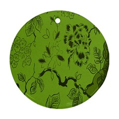 Abstract Green Background Natural Motive Ornament (round)