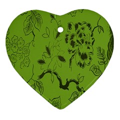 Abstract Green Background Natural Motive Ornament (Heart)