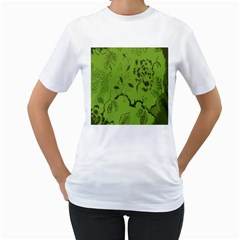 Abstract Green Background Natural Motive Women s T Shirt (white) (two Sided)