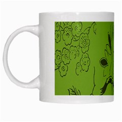 Abstract Green Background Natural Motive White Mugs
