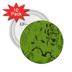 Abstract Green Background Natural Motive 2 25  Buttons (10 Pack)