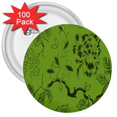 Abstract Green Background Natural Motive 3  Buttons (100 Pack)