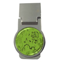 Abstract Green Background Natural Motive Money Clips (round)