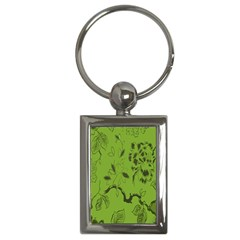 Abstract Green Background Natural Motive Key Chains (Rectangle)