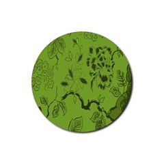 Abstract Green Background Natural Motive Rubber Coaster (Round)