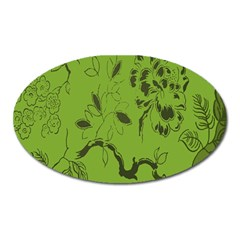 Abstract Green Background Natural Motive Oval Magnet