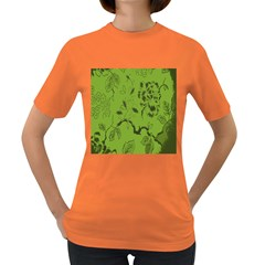 Abstract Green Background Natural Motive Women s Dark T-Shirt