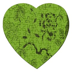 Abstract Green Background Natural Motive Jigsaw Puzzle (Heart)
