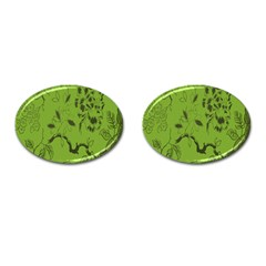 Abstract Green Background Natural Motive Cufflinks (oval)