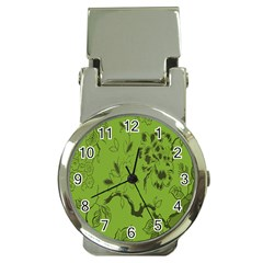 Abstract Green Background Natural Motive Money Clip Watches