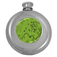 Abstract Green Background Natural Motive Round Hip Flask (5 Oz)