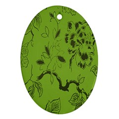 Abstract Green Background Natural Motive Oval Ornament (Two Sides)