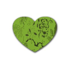 Abstract Green Background Natural Motive Heart Coaster (4 Pack)