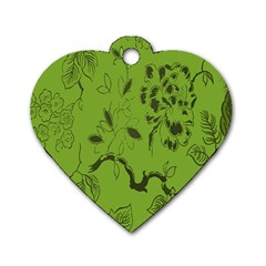 Abstract Green Background Natural Motive Dog Tag Heart (one Side)