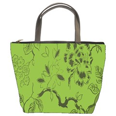 Abstract Green Background Natural Motive Bucket Bags