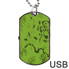 Abstract Green Background Natural Motive Dog Tag Usb Flash (two Sides)