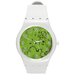 Abstract Green Background Natural Motive Round Plastic Sport Watch (m)
