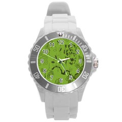 Abstract Green Background Natural Motive Round Plastic Sport Watch (L)