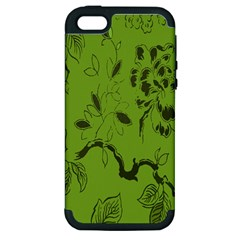 Abstract Green Background Natural Motive Apple Iphone 5 Hardshell Case (pc+silicone)