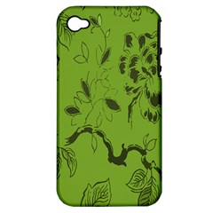 Abstract Green Background Natural Motive Apple iPhone 4/4S Hardshell Case (PC+Silicone)