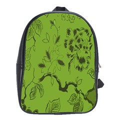 Abstract Green Background Natural Motive School Bags (XL)