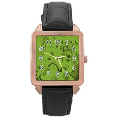 Abstract Green Background Natural Motive Rose Gold Leather Watch