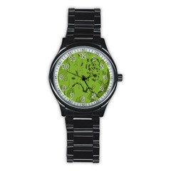 Abstract Green Background Natural Motive Stainless Steel Round Watch
