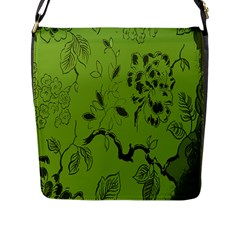 Abstract Green Background Natural Motive Flap Messenger Bag (l)