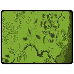Abstract Green Background Natural Motive Double Sided Fleece Blanket (Large)