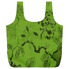 Abstract Green Background Natural Motive Full Print Recycle Bags (l)