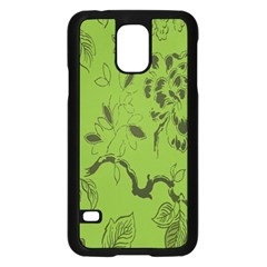 Abstract Green Background Natural Motive Samsung Galaxy S5 Case (Black)