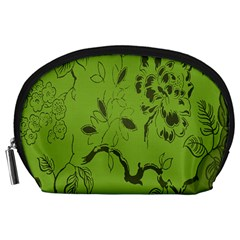 Abstract Green Background Natural Motive Accessory Pouches (Large)