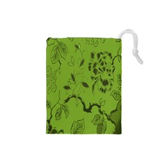 Abstract Green Background Natural Motive Drawstring Pouches (Small)