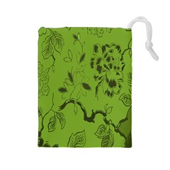 Abstract Green Background Natural Motive Drawstring Pouches (Large)