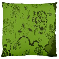 Abstract Green Background Natural Motive Large Flano Cushion Case (One Side)