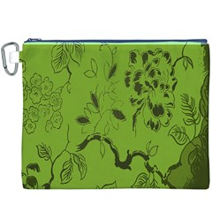Abstract Green Background Natural Motive Canvas Cosmetic Bag (XXXL)