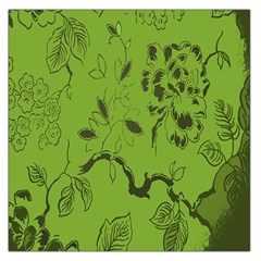 Abstract Green Background Natural Motive Large Satin Scarf (Square)