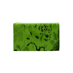 Abstract Green Background Natural Motive Cosmetic Bag (XS)