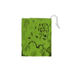 Abstract Green Background Natural Motive Drawstring Pouches (xs)