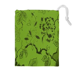 Abstract Green Background Natural Motive Drawstring Pouches (extra Large)