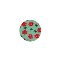Floral Roses Wallpaper Red Pattern Background Seamless Illustration 1  Mini Magnets