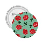 Floral Roses Wallpaper Red Pattern Background Seamless Illustration 2.25  Buttons Front