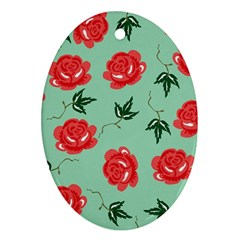 Floral Roses Wallpaper Red Pattern Background Seamless Illustration Ornament (oval)