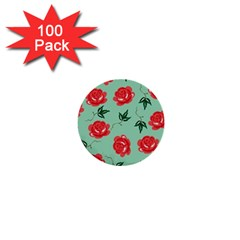 Floral Roses Wallpaper Red Pattern Background Seamless Illustration 1  Mini Buttons (100 Pack)