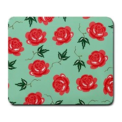Floral Roses Wallpaper Red Pattern Background Seamless Illustration Large Mousepads