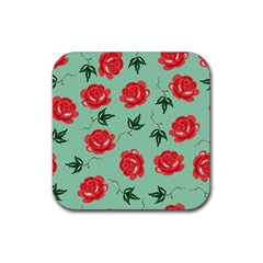 Floral Roses Wallpaper Red Pattern Background Seamless Illustration Rubber Square Coaster (4 Pack)