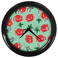 Floral Roses Wallpaper Red Pattern Background Seamless Illustration Wall Clocks (black)