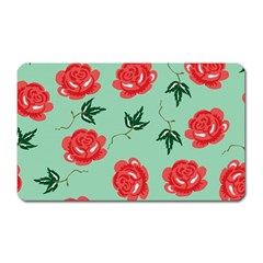 Floral Roses Wallpaper Red Pattern Background Seamless Illustration Magnet (Rectangular)